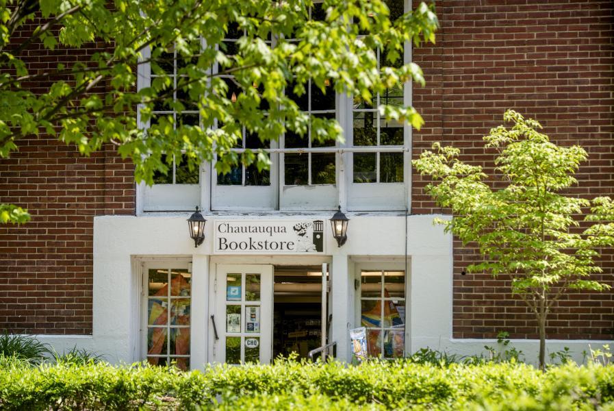 Chautauqua Bookstore Entrance through Trees and Gardens