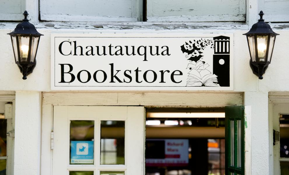 Chautauqua Bookstore entrance centered on sign