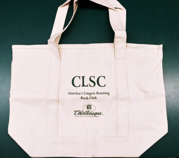 display image of canvas tote with CLSC imprint in green