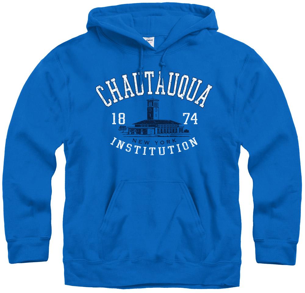 Search Chautauqua Bell Tower Hoodie Sweatshirt in Royal