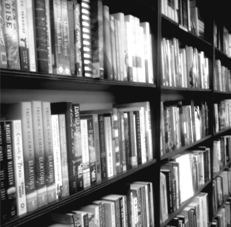 black and white image of books on shelves at Chautauqua Bookstore