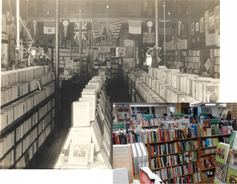 Chautauqua Bookstore stacks year unknown (photo by Harold Wagner) and 2017