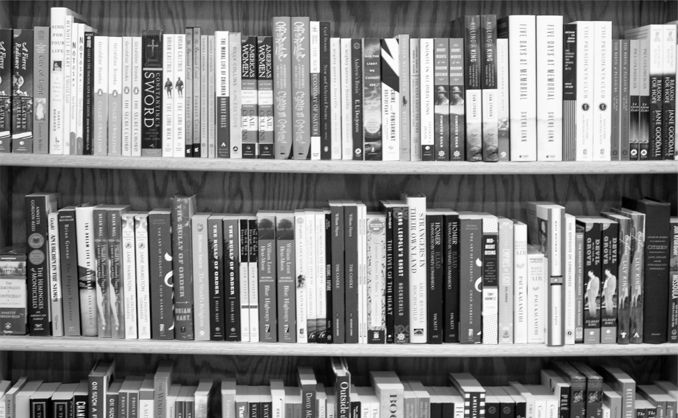 black & white bookshelf