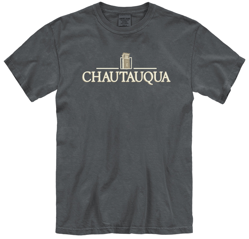 embroidered chautauqua tee in pepper gray