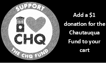 "black and white ""support the chq fund"" button with additional text: ""Add a $1 donation for the Chautauqua Fund to your cart"""