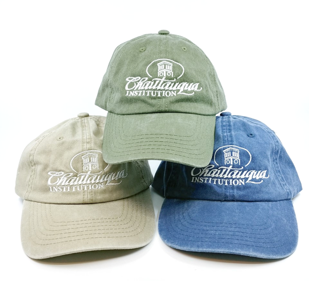 washed finish embroidered chautauqua institution caps