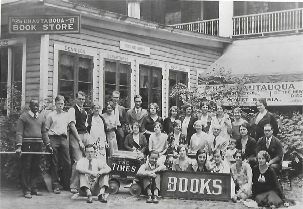 Chautauqua Bookstore & employees circa 1930 Museum location photo by Harold Wagner